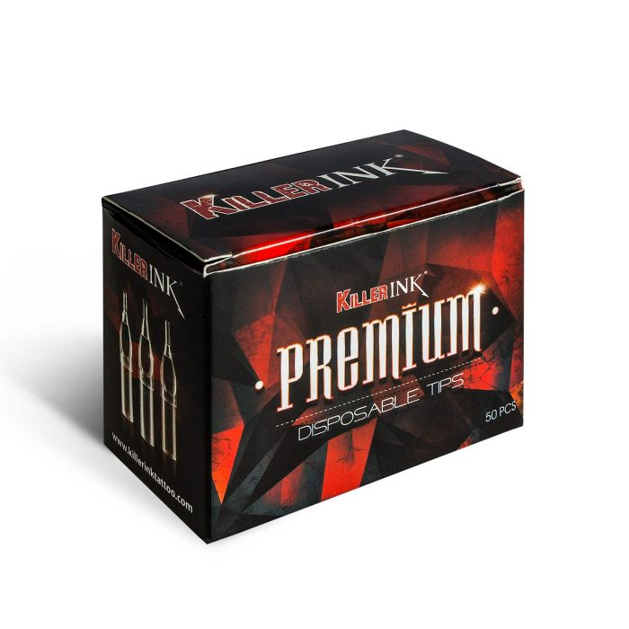Box of 50 Killer Ink PREMIUM Clear Sterile Disposable Tips - Round