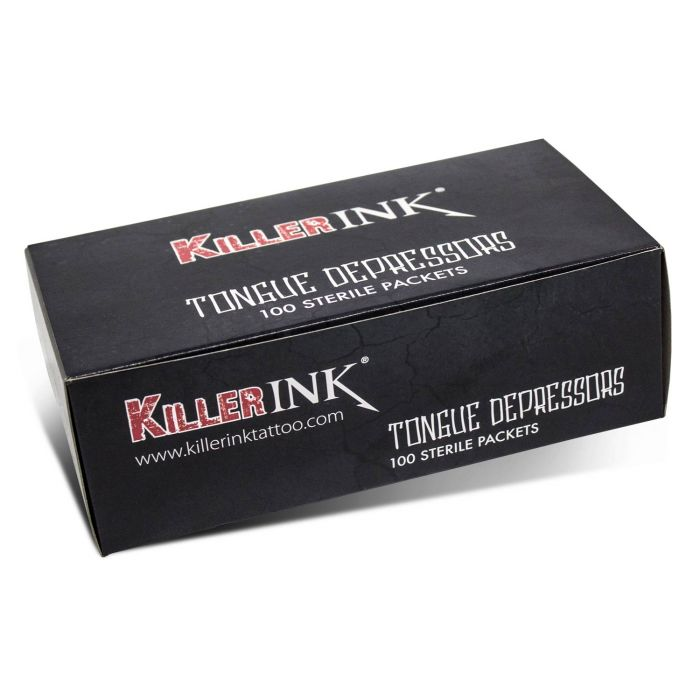 Box of 100 Killer Ink Sterile Tongue Depressors in Sterile Packaging