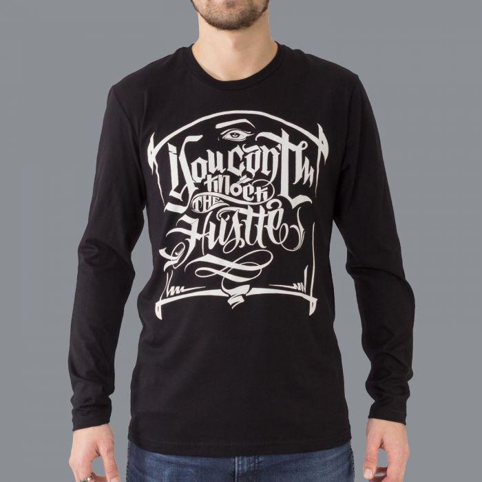 Luxury Hustle Wear Long Sleeve T-Shirt El Whyner 'Can't Knock The Hustle' in Black