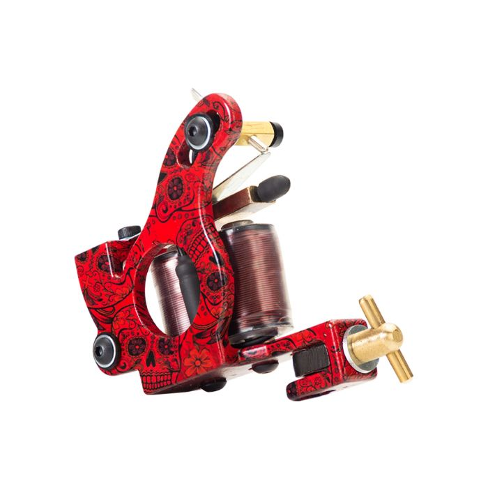 Micky Sharpz - MkIV Custom Telephone Dial Tattoo Machine - Blood Red - Liner / Colour / Shader