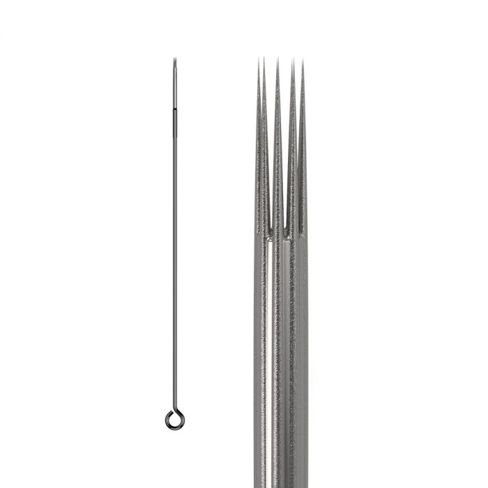 Box of 50 KWADRON Needles 0.35MM LONG TAPER BUGPIN TEXTURED - Round Shader